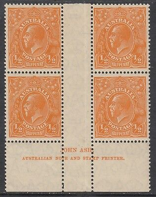 1928 1/2d ORANGE KGV, Small Multiple Watermark, IMPRINT block of 4, MNH