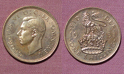 1951 King George Vi Proof English Shilling