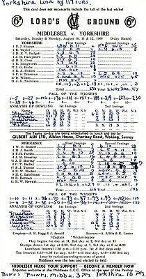 Scorecard - Middlesex v Yorkshire 10-12 August 1968