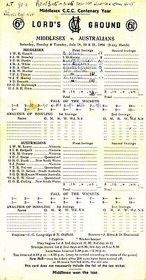 Scorecard - Middlesex v Australians 18-21 July 1964