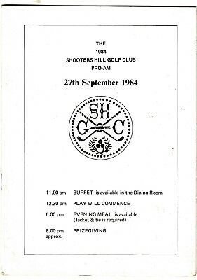 Shooters Hill Golf Club - Pro-Am Tournament 27th September 1984