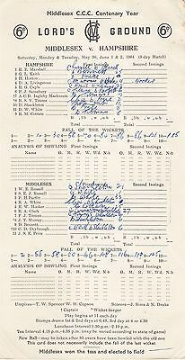 Scorecard - Middlesex v Hampshire 30 May - 2 June 1964