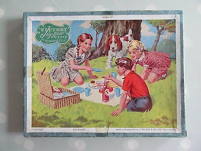 Vintage Victory Wooden Jigsaw Of The  Picnic - Complete