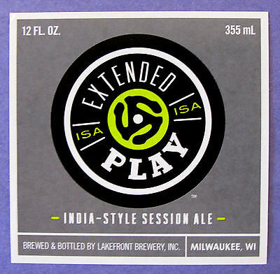 Lakefront Brewery EXTENDED PLAY ISA label WI 12oz - Silver border