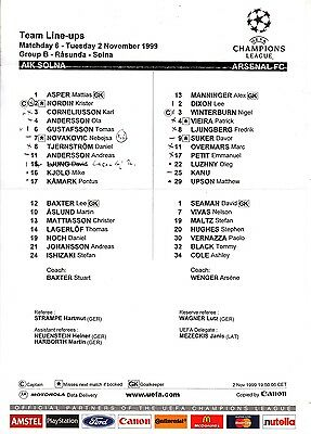 Teamsheet - AIK Solna v Arsenal 1999/2000 UEFA Champions League