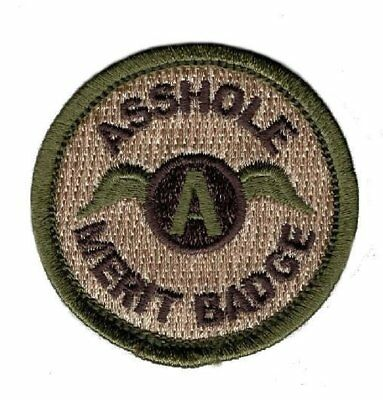 Assole Merit Badge 2.0 x 2.0 IRON ON Patch (MTA1)