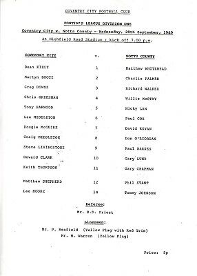 Teamsheet - Coventry City Reserves v Notts County Reserves 1989/90