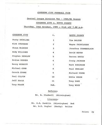 Teamsheet - Coventry City Reserves v Notts County Reserves 1985/6