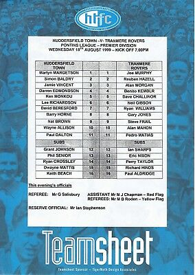 Teamsheet - Huddersfield Town Reserves v Tranmere Rovers Reserves 1999/2000