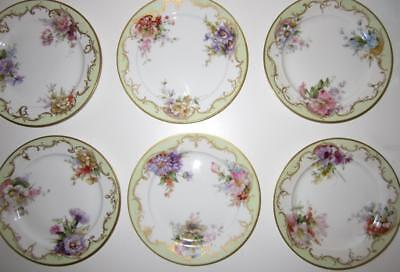Set of 6 Unusual Antique BERLIN GERMAN Floral Painted Porcelain Small Plates