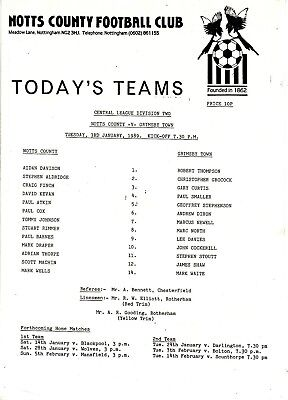 Teamsheet - Notts County Reserves v Grimsby Town Reserves 1988/9