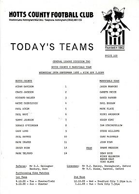Teamsheet - Notts County Reserves v Mansfield Town Reserves 1988/9