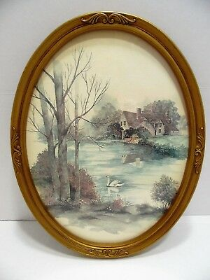 Home Interiors Oval Picture Cottage Pond Swan Floral 17x13 Gold Frame 3280 USA