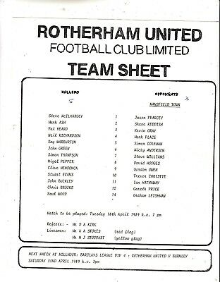 Teamsheet - Rotherham United Reserves v Mansfield Town Reserves 1988/9