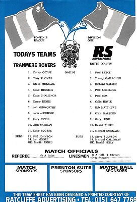 Teamsheet - Tranmere Rovers Reserves v Notts County Reserves 1994/5