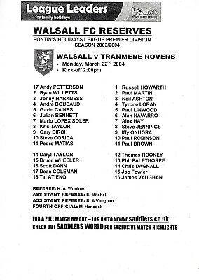 Teamsheet - Walsall Reserves v Tranmere Rovers Reserves 2003/4