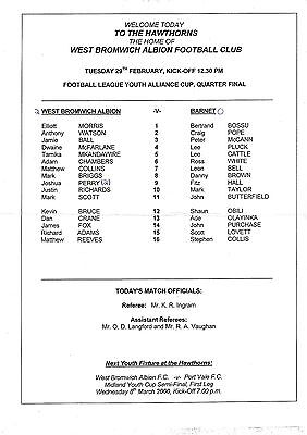 Teamsheet - West Bromwich Albion Youth v Barnet Youth 1999/2000