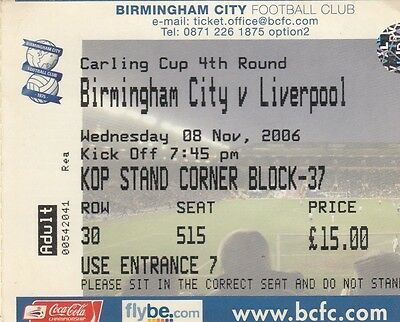 Ticket - Birmingham City v Liverpool 08.11.06 League Cup