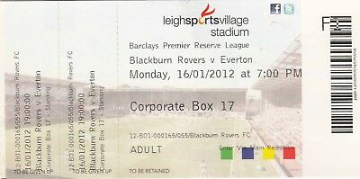 Ticket - Blackburn Rovers Reserves v Everton Reserves 16.01.12