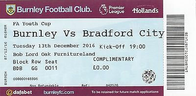 Ticket - Burnley Youth v Bradford City Youth 13.12.16 FA Youth Cup