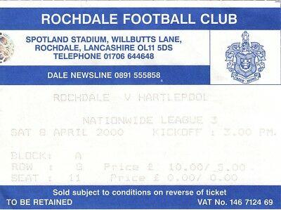 Ticket - Rochdale v Hartlepool 08.04.00