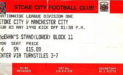 Ticket - Stoke City v Manchester City 03.05.98