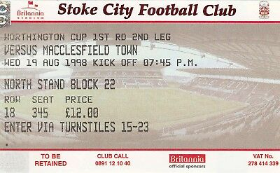 Ticket - Stoke City v Macclesfield Town 19.08.98 League Cup