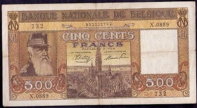 500 Francs From Belgium 21.3.1945