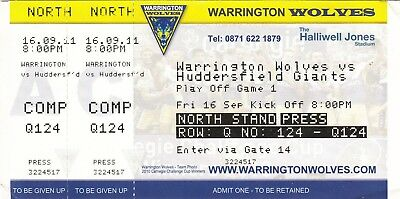 Ticket - Warrington Wolves v Huddersfield Giants 16.09.2011 Play Off Game 1