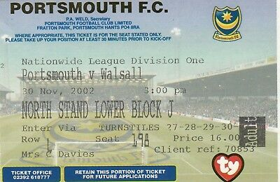 Ticket - Portsmouth v Walsall 30.11.02