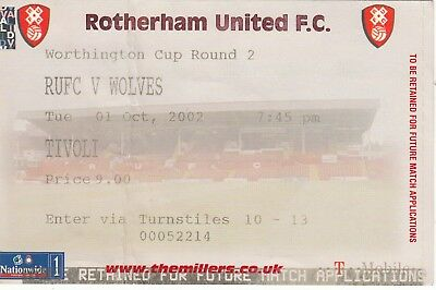 Ticket - Rotherham United v Wolverhampton Wanderers 01.10.02 League Cup