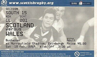 Ticket - Scotland v Wales 10.02.07 Six Nations