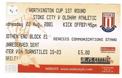 Ticket - Stoke City v Oldham Athletic 22.08.01 League Cup