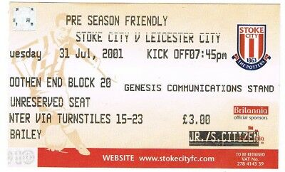 Ticket - Stoke City v Leicester City 31.07.01 Friendly
