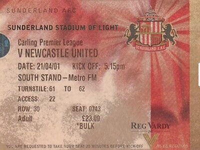 Ticket - Sunderland v Newcastle United 21.04.01