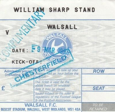 Ticket - Walsall v Chesterfield 09.03.93