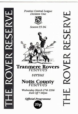 Tranmere Rovers Reserves v Notts County Reserves 1995/6