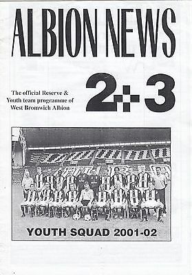 West Bromwich Albion Reserves v Tranmere Rovers Reserves 2001/2