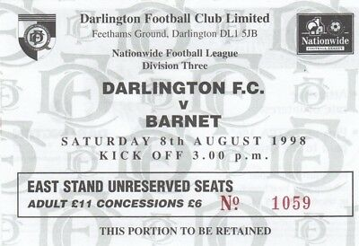 Ticket - Darlington v Barnet 08.08.98