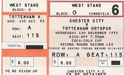 Ticket - Chester City v Tottenham Hotspur 04.12.95 League Cup