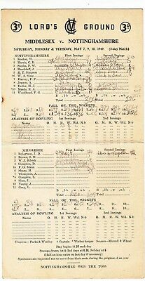 Scorecard - Middlesex v Nottinghamshire 7-10 May 1949