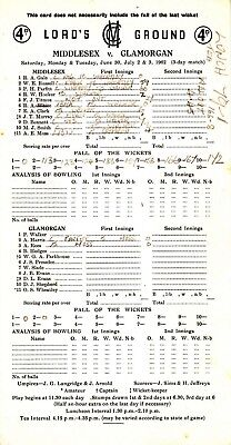 Scorecard - Middlesex v Glamorgan 30 June - 3 July 1962