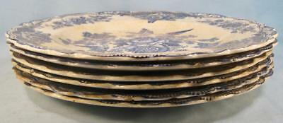 6 Bristol Blue Dinner Plates Crown Ducal England Transferware Birds (O) AS IS