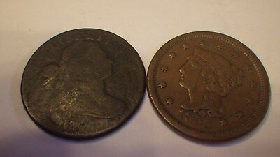 1807 & 1855  Copper Larges Cents   Very Old