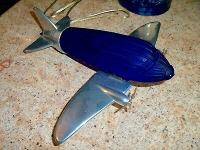 DC-3 art deco AIRPLANE CHROME LAMP * RARE BLUE GLASS SHADE VERY GOOD+ NO RESERVE