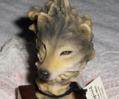 Vtg Southwest Spirit Of The Wolf Figurine Small Wolf-Keen Eye Mounted Statue