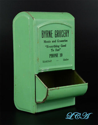 ORIGINAL antique RICHFIELD IDAHO tin match box holder BYRNE GROCERY Phone 10