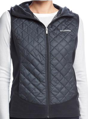 New Columbia Warmer Days Black Winter Vest Womens Xl Free Ship Thermal Hooded