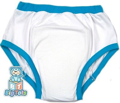 BIG TOTS White w/ blue adult  training pants baby style