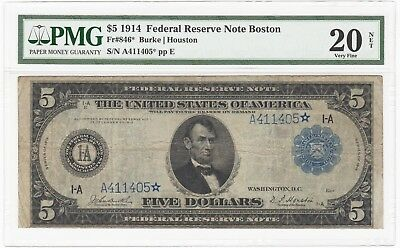 1914 U.S. $5 Federal Reserve STAR Bank Note Boston - FR# 846* - PMG VF 20 - RARE